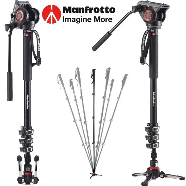 Manfrotto Xpro 4 Section Video Monopod With Fluid Head & Fluidtech Base